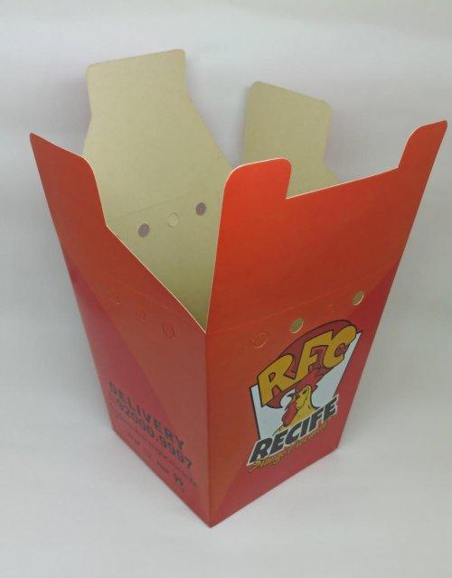 Caixa com tampa para frango frito em duplex 300g