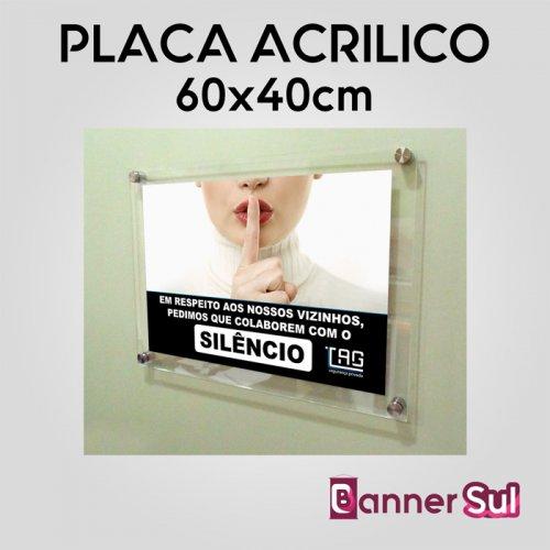 Placa em Acrilico Adesivado 60x40cm