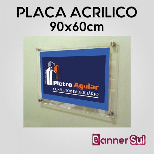 Placa em Acrílico Adesivado 90x60cm