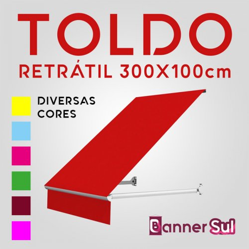 Toldo Retrátil 300x100cm - Diversas Cores