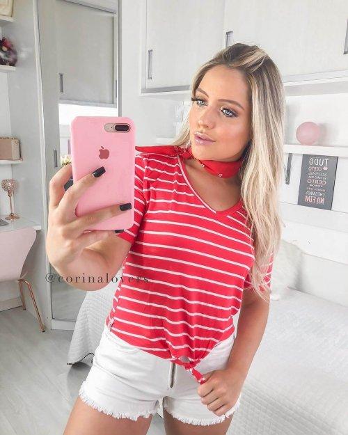Corina T-Shirt Listras Vermelha com Amarração