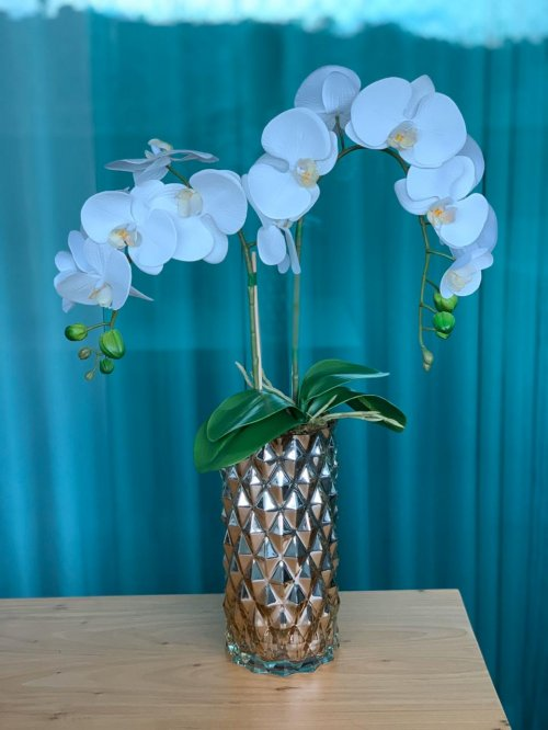 Orquídea branca no vaso alto dourado