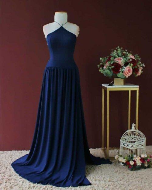 {Adele} Vestido Festa Longo Godê Tirinhas com Fenda Madrinha Formatura (cor Azul Marinho)