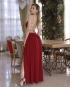 Miniatura - {Adele} Vestido Festa Longo Godê Tirinhas com Fenda Madrinha Formatura (cor Marsala)