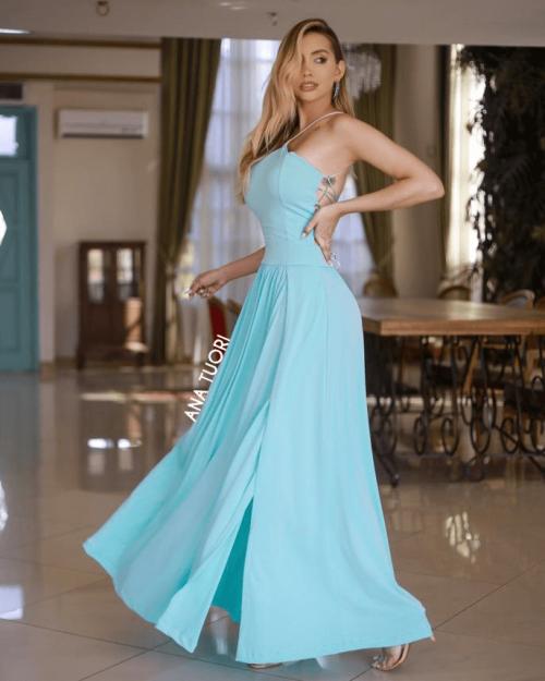 {Adele} Vestido Festa Longo Godê Tirinhas com Fenda Madrinha Formatura (cor Tiffany)