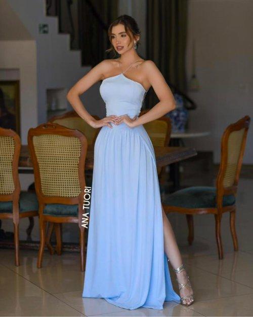 {Adele} Vestido Festa Longo Godê Tirinhas com Fenda Madrinha Formatura (cor Azul Serenity)