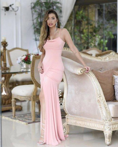 {Allegra} Vestido Festa Longo Sereia Drapeado com Fenda Madrinha Formatura (cor Rosé Nude)