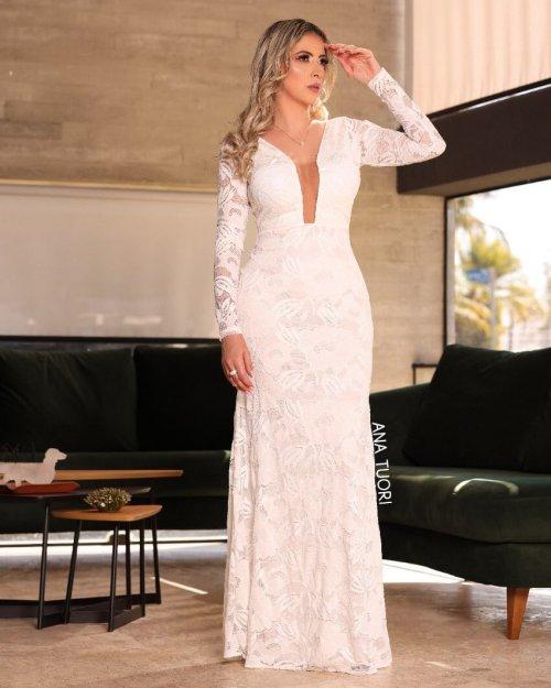 Vestido Festa Longo Sereia Em Renda Manga Longa Decote Em Tule Noiva Casamento Cor Branco