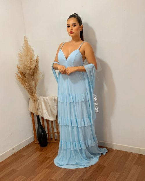 {Analice} Vestido Festa Longo Alça Fina Rodado com Babadinhos Madrinha (cor Azul Serenity)