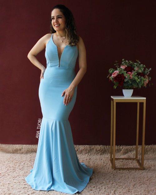 {Andreza} Vestido Festa Longo Sereia Alça Fina Decote em Tule e Tiras nas Costas Madrinha (cor Azul Serenity)