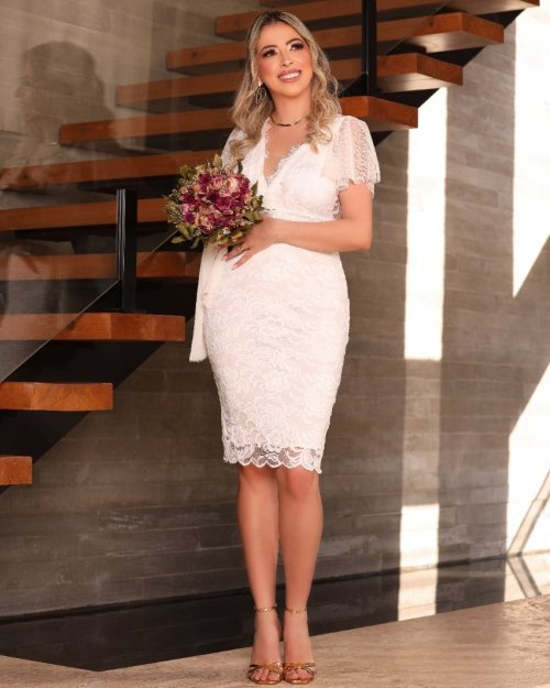 {Anna} Vestido Noiva Midi Renda Decote em Renda Chantilly Casamento Civil (cor Branco Off)