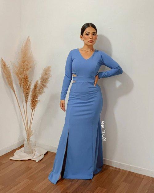 {Anne} Vestido Festa Longo Semi Sereia Manga Longa Aberto na Cintura Madrinha Formatura (cor Azul Lago)