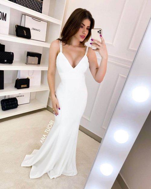 {Antonella} Vestido Festa Longo Sereia Alça Fina Dupla Noiva Casamento (Cor Branco Off)