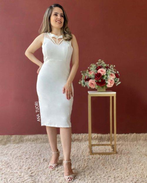 {Ariadne} Vestido Curto Tubinho Decote Tirinhas Social Noiva Casamento (cor Branco Off)