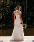 Miniatura - {Beatriz} Vestido Noiva Longo Evasê Gola Alta com Mangas Delicadas Casamento (cor Branco Off)