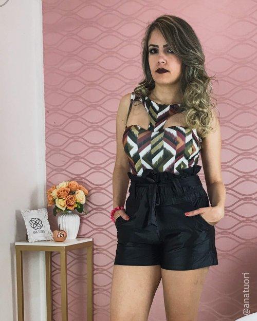 Body Feminino com Decote Y e Costas Cavadas (cor Estampa Geométrica) - Raissa Karenine