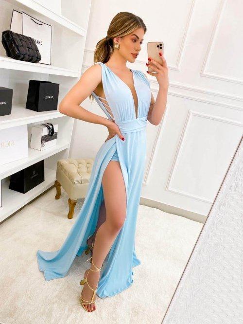 {Cassandra} Vestido Festa Longo Godê Tirinhas com Fenda Madrinha Formatura (cor Azul Serenity)