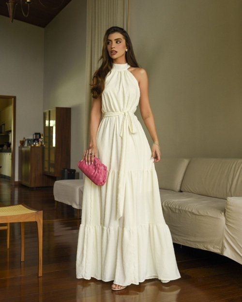 {Chloe} Vestido Noiva Longo Gola Alta Sem Mangas Tecido de Poá Casamento Civil (cor Branco Off)