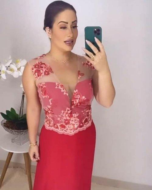 {Cláudia} Vestido Festa Longo Evasê Rodado Chiffon Busto em Tule Bordado Madrinha Casamento Formatura (cor Vermelho)