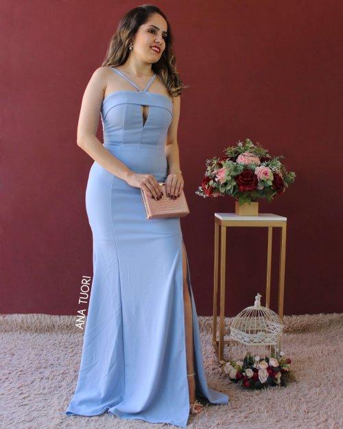{Cris} Vestido Festa Longo Semi Sereia Alça Fina Faixa no Busto Madrinha Casamento (cor Azul Serenity)