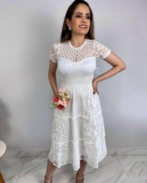 {Elis} Vestido Noiva Midi Rodado Manga Curta Três Marias Formatura Casamento (cor Branco Off)