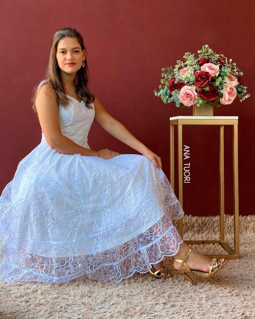 {Ella} Vestido Midi Rodado Alça Fina Tule Bordado Noiva Casamento (cor Branco Off)
