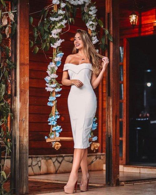 {Franciele} Vestido Festa Midi Ombro a Ombro Tubinho Formatura Noivado Casamento (cor Branco Off)
