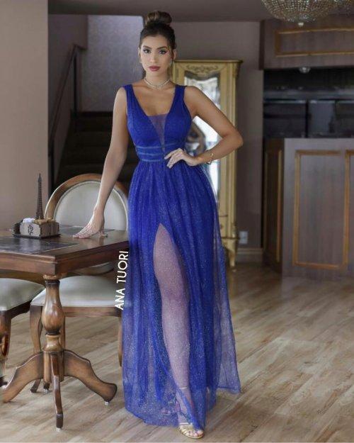 {Gabriela} Vestido Festa Longo Godê Rodado Tule Brilho Madrinha Formatura (cor Azul Royal)