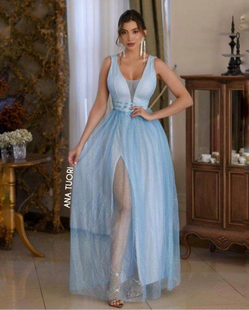 {Gabriela} Vestido Festa Longo Godê Rodado Tule Brilho Madrinha Formatura (cor Azul Serenity)