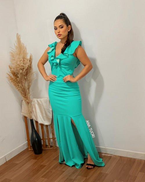 {Giulia} Vestido Festa Longo Sereia Ombro a Ombro Duas Fendas Madrinha Formatura (cor Tiffany)