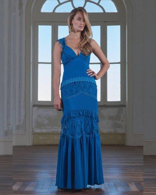 {Grazi} Vestido Festa Longo Alças Detalhes em Renda e Trançado na Costas Madrinha Casamento Formatura (cor Azul)