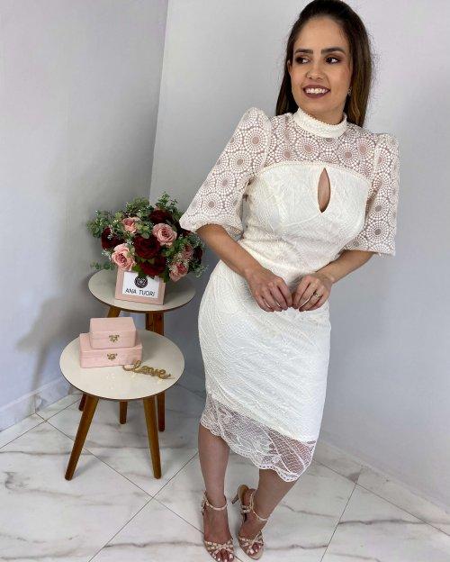 {Heloise} Vestido Midi Manga 3/4 Bufante Gola Alta Noiva Casamento Civil (cor Off-White)