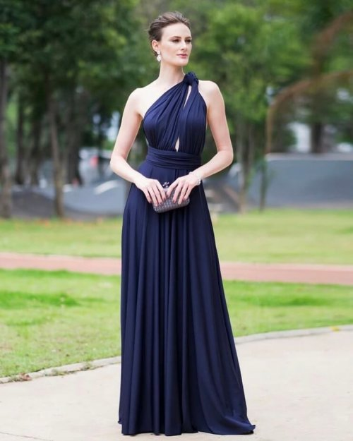 {Infinity} Vestido Festa Longo Princesa Rodado Várias Formas de Amarrar Madrinha Formatura (cor Azul Marinho)
