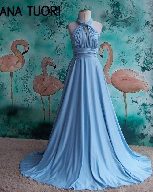{Infinity} Vestido Festa Longo Princesa Rodado Várias Formas de Amarrar Madrinha Formatura (cor Azul Serenity)