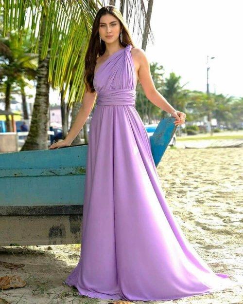 {Infinity} Vestido Festa Longo Princesa Rodado Várias Formas de Amarrar Madrinha Formatura (cor Lavanda)