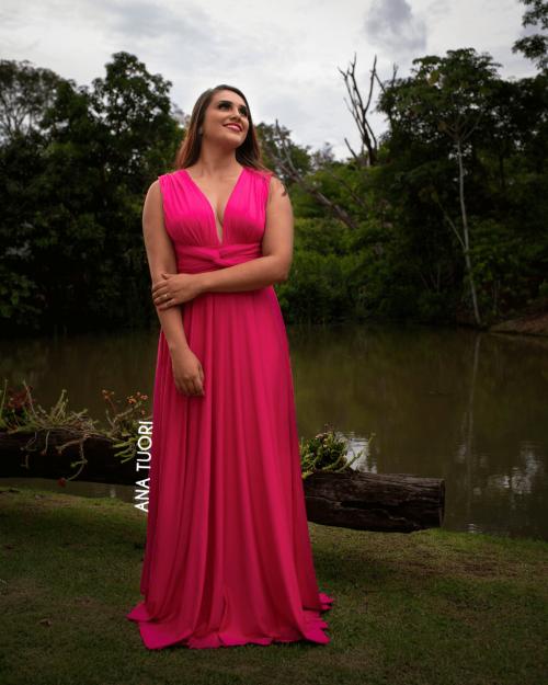 {Infinity} Vestido Festa Longo Princesa Rodado Várias Formas de Amarrar Madrinha Formatura (cor Rosa Pink)
