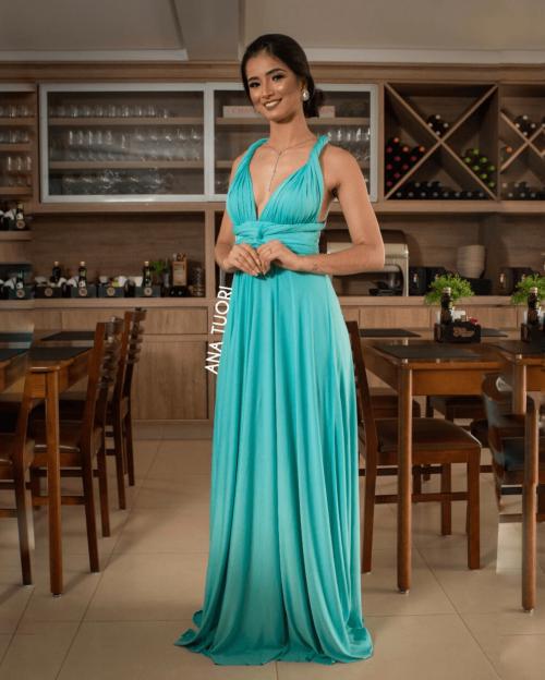 {Infinity} Vestido Festa Longo Princesa Rodado Várias Formas de Amarrar Madrinha Formatura (cor Azul Tiffany)