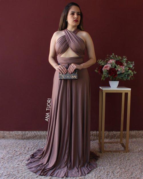 {Infinity} Vestido Festa Longo Princesa Rodado Várias Formas de Amarrar Madrinha Formatura (cor Marrom)