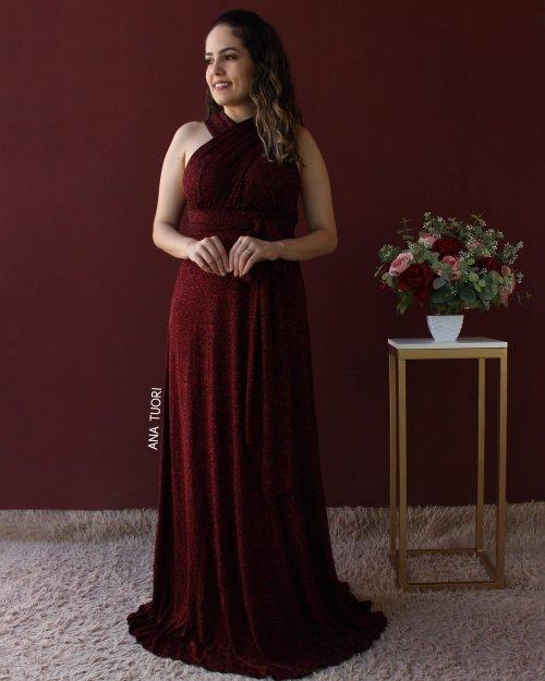 {Infinity} Vestido Festa Longo Rodado Princesa Várias Formas com Glitter Madrinha Formatura (cor Vermelho)
