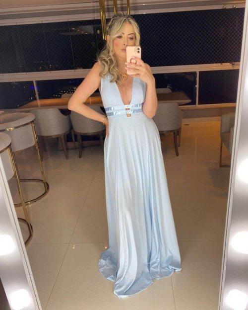 {Isabelle} Vestido Festa Longo Godê 2 Fitas na Cintura Madrinha Formatura (cor Azul Serenity)