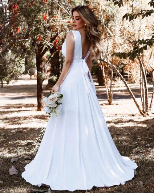 {Isabelle} Vestido Festa Longo Godê 2 Fitas na Cintura Noiva Casamento (Cor Branco)