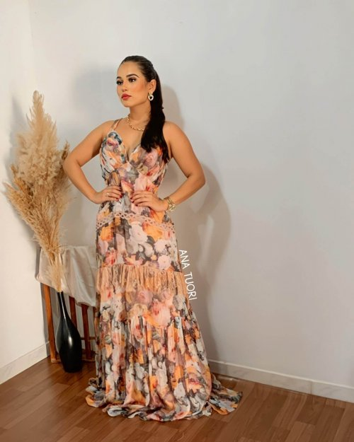 {Ísis} Vestido Festa Longo Semi Sereia Alças com Trançado na Costas Madrinha Casamento Formatura (cor Estampa Floral)