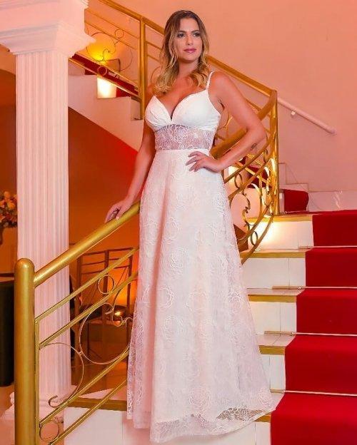 {Jéssica} Vestido Longo Evasê Rodado Alça Fina Duas formas de Usar Noiva Casamento (cor Branco Off)