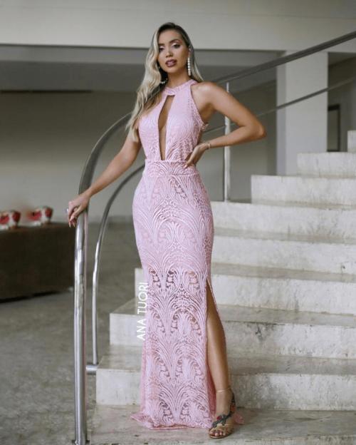 {Joana} Vestido Festa Longo Semi Sereia Gola Alta com Tule Madrinha Casamento Formatura (cor Rosé)