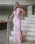 Miniatura - {Joana} Vestido Festa Longo Semi Sereia Gola Alta com Tule Madrinha Casamento Formatura (cor Rosé)