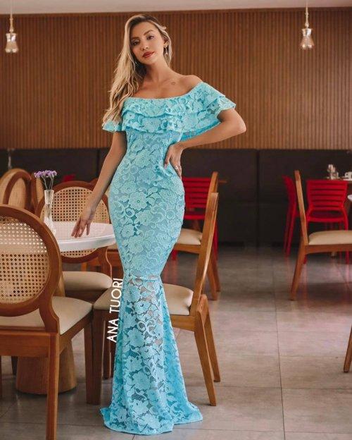 {Kellen} Vestido Festa Longo Sereia em Renda Ciganinha com Glitter Ombro a Ombro Madrinha Casamento (cor Tiffany)