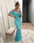 Miniatura - {Kellen} Vestido Festa Longo Sereia Renda Ciganinha Ombro a Ombro Madrinha Casamento (cor Tiffany)