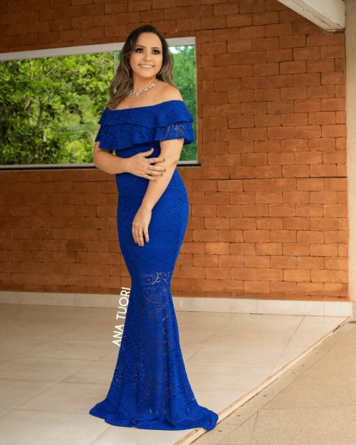 {Kellen} Vestido Festa Longo Sereia em Renda Ciganinha Ombro a Ombro Madrinha Casamento (cor Azul Royal)