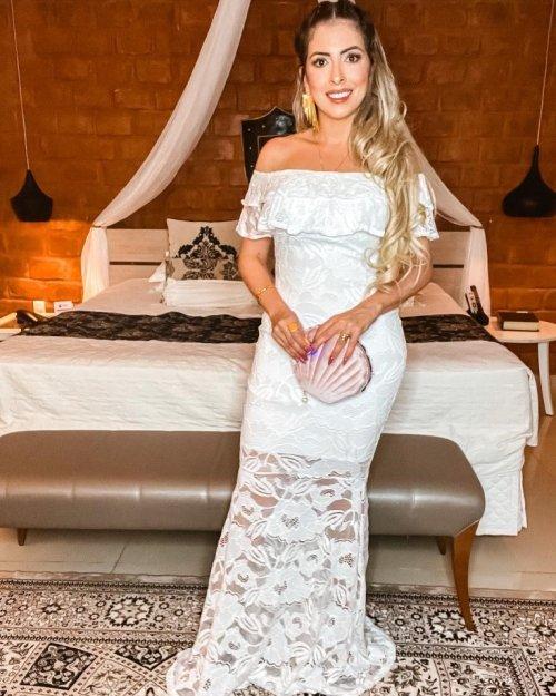 {Kellen} Vestido Festa Longo Sereia em Renda Ciganinha Ombro a Ombro Noiva Casamento (cor Branco)