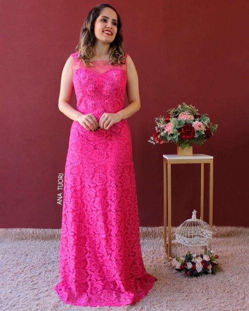 {Lavínia} Vestido Longo Evasê em Renda com Detalhes em Guipure e Tule Madrinha Casamento (cor Rosa Pink)